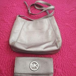 Michael Kors Gunmetal Fulton purse and wallet